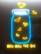 Name Digital Art Prints - WauWauTaeSie Neon Print by Geoff Strehlow