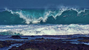 Ocean Waves Photos - Wave Breaking on Lava Rock 2 by Bette Phelan