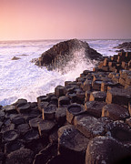 Hexagons Photos - Wave Crashing Against Rocks by Chris Hill