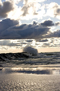 Slam Photo Prints - Wave crashing into jetty on Lake Michigan Print by Purcell Pictures