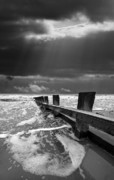 Black-and-white Metal Prints - Wave Defenses Metal Print by Meirion Matthias