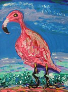 Flamingo Drawings - Wave Fisherman by Mary Carol Williams