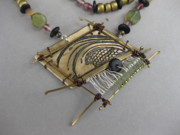 Brass Etching Jewelry - Wave Pink and Green by Brenda Berdnik