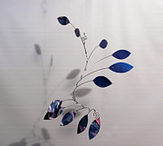 Shower Gift Paintings - Wave Style Kinetic Mobile Art Sculpture in Egyptian Blue by Carolyn Weir