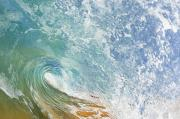 Seafoam Prints - Wave Tube along Shore Print by Quincy Dein - Printscapes