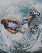 Bannister Painting Metal Prints - Wave Warrior Metal Print by Debra  Bannister