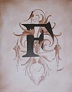 Raw Umber Metal Prints - Waverly F Monogram Metal Print by Katie Fitzgerald