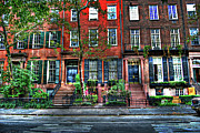 Greenwich Framed Prints - Waverly Place Townhomes Framed Print by Randy Aveille