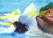 Christmas Holiday Scenery Paintings - Waves 1 by Anil Nene