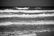 Beach Scene Acrylic Prints - Waves 3 in BW Acrylic Print by Susanne Van Hulst