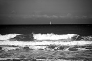 Sail Boat Photos - Waves 4 in BW by Susanne Van Hulst