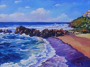 Toscana Paintings - Waves Breaking at Castelsardo by John Clark