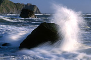 Californian Framed Prints - Waves Breaking on Shore  Framed Print by Jim Corwin and Photo Researchers