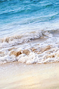 Foam Prints - Waves breaking on tropical shore Print by Elena Elisseeva