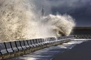 Crashing Photos - Waves Crushing Against Barrier by John Short