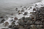 Smoothed Framed Prints - Waves Hitting The Shore Framed Print by Ted Kinsman