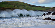 Storm Prints Acrylic Prints - Waves in Dingle Acrylic Print by Barbara Walsh