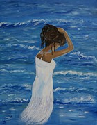 Lady In Lake Painting Posters - Waves Of Beauty Poster by Leslie Allen