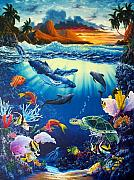 Hawaii Sea Turtle Paintings - Waves of Light by Daniel Bergren
