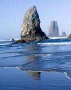 Haystack Rocks Prints - Waves Over The Reflection Print by Elvira Butler
