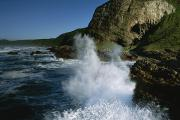 Republic Of South Africa Prints - Waves Pound The Rocky Coast Of South Print by Kenneth Garrett