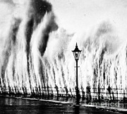 Natural Disaster Framed Prints - Waves Smashing Seawall, 1938 Framed Print by Science Source