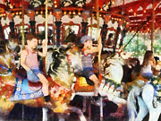 Carousel Framed Prints - Waving Hi From the Merry-Go-Round Framed Print by Susan Savad