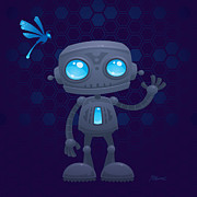 Cute Cartoon Art - Waving Robot by John Schwegel