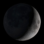 Black  Prints - Waxing Crescent Moon Print by Stocktrek Images