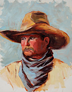 Cowboy Hat Paintings - Way Out West by Mary Giacomini