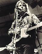 Microphone Stand Prints - Waylon Jennings In Concert, C. 1974 Print by Everett