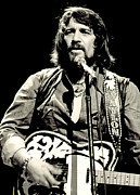 Microphone Stand Prints - Waylon Jennings In Concert, C. 1976 Print by Everett