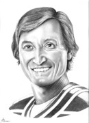 Hockey Drawings Originals - Wayne Gretzky  ninety nine by Murphy Elliott