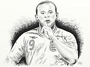 Pencil Drawing Pyrography Posters - WAYNE ROONEY with ENGGLAND Poster by Yudiono Putranto