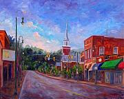 Baptist Paintings - Waynesville Downtown on Main Street by Jeff Pittman