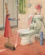 Featured Drawings Prints - WC Story Print by Kestutis Kasparavicius