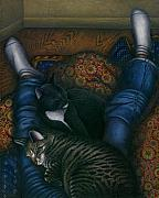 Black And White Painting Originals - We 3 Nap with my Cats by Carol Wilson