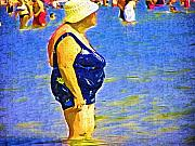 Elderly Woman Posters - We All EnJoy the Beach Poster by Deborah MacQuarrie