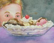Strawberry Sundae Art - We All Scream by Gale Cochran-Smith