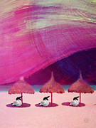 Umbrellas Digital Art - We are But Sheep on the Beach by Jean Moore