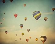 Hot Air Balloons Framed Prints - We Are Floating in Space Framed Print by Irene Suchocki