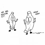 Banana Art Prints - We Are Killing It Comic Print by Karl Addison