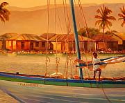 Haiti Paintings - We Be Sailing by Sue  Darius