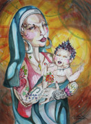 Child Jesus Paintings - We Can Do It  Inked Mary and Jesus by LEX Covato