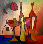 Wine Drawings Prints - We Can Share - Abstract Wine Art by Fidostudio Print by Tom Fedro - Fidostudio