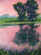 Lake Pastels Prints - We Enter Night Together Print by Christine Kane
