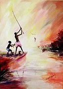 Oyoroko Ken Ochuko Paintings - We fished by Oyoroko Ken ochuko