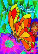 Dragon Fly Glass Art Posters - We Fly Poster by Farah Faizal