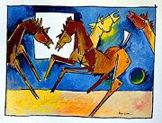 Horse Drawings Framed Prints - We Meet Again Framed Print by Artist  Singh