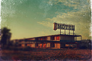 Dilapidated Digital Art Posters - We Met at the Old Motel Poster by Laurie Search